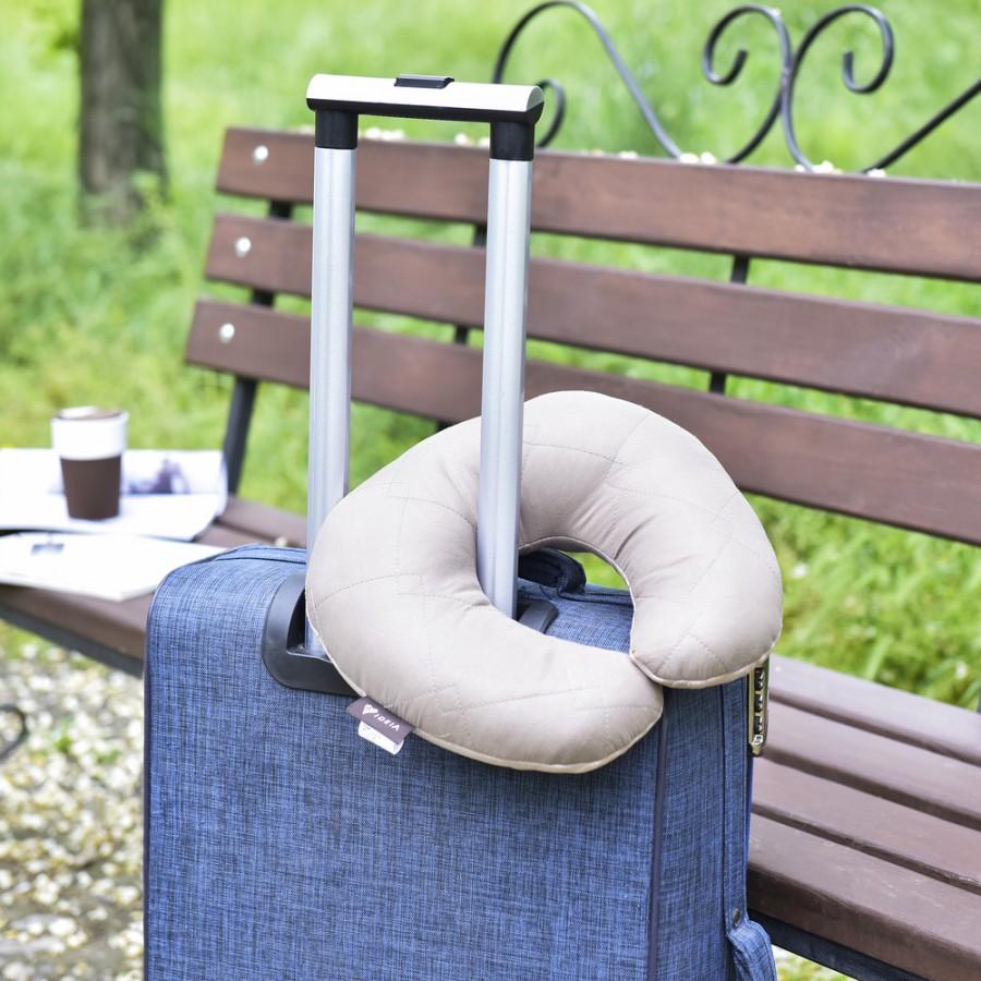 Дорожня Подушка рогалик Travel синій/беж IDEIA