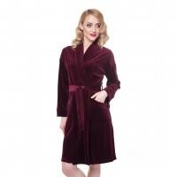 Халат жіночий Ellen велюровий бордового кольору LDG 037/006