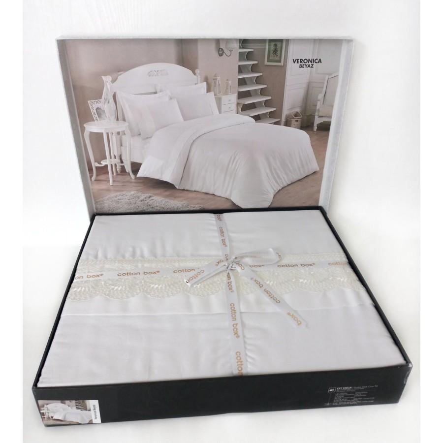 Постільна білизна Cotton Box Brode сатин 200X220 Veronica Beyaz