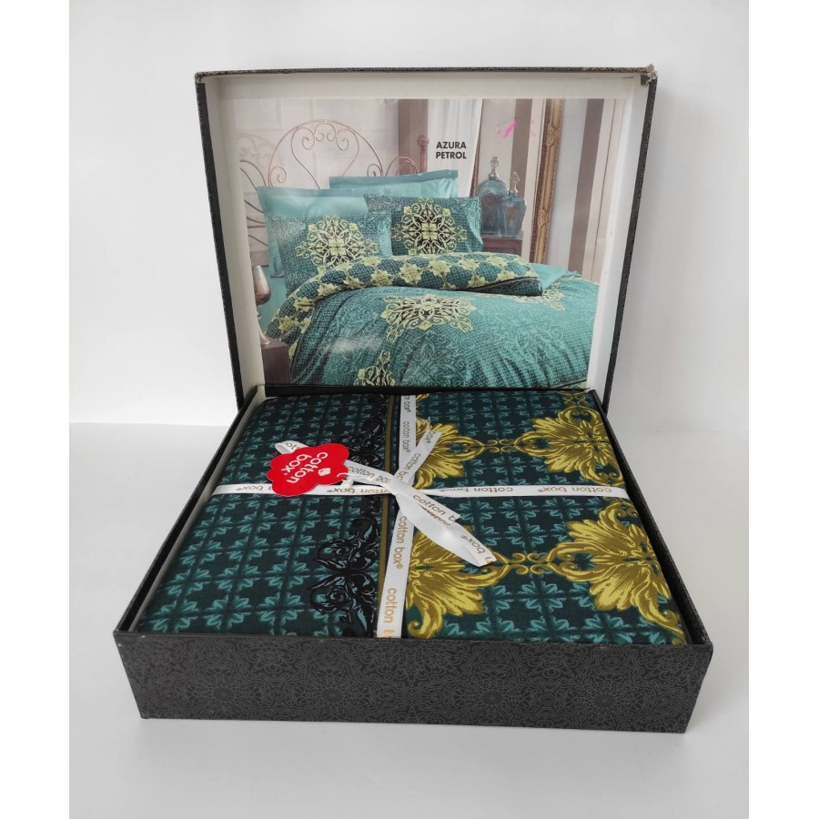 Постільна білизна COTTON BOX Royal сатин євро AZURA PETROL