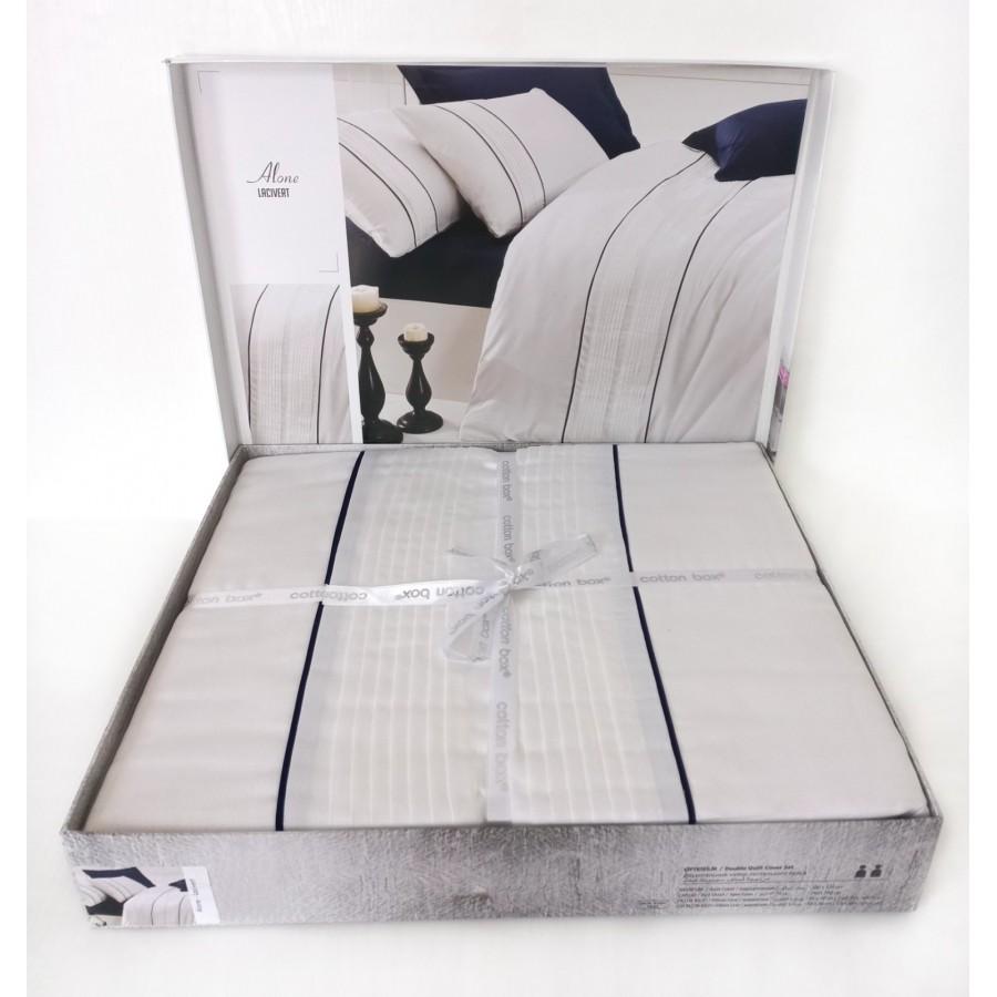 Постільна білизна Cotton Box Brode сатин 200X220 Alone Lacivert