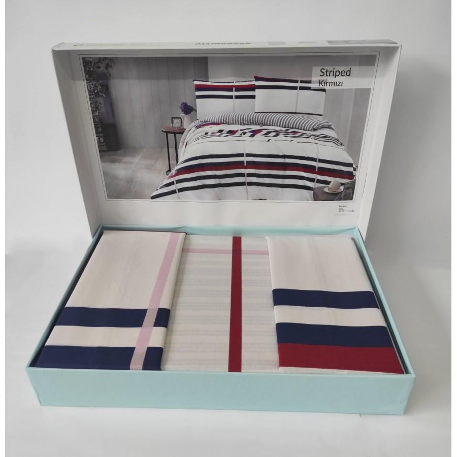 Постільна білизна Altinbasak ранфорс 160x220 Striped Kirmizi