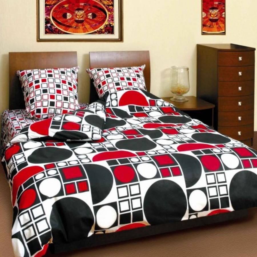 Комплект постільної білизни ТЕП сімейний 531 Коло чорно-червоне, 70x70