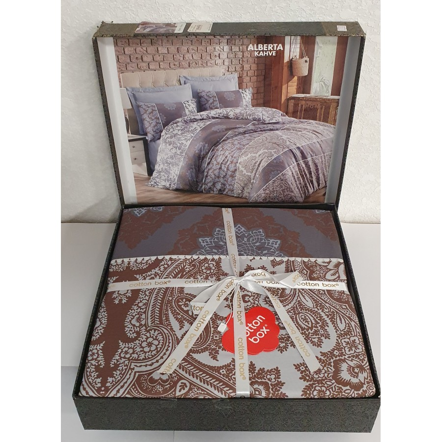 Постільна білизна COTTON BOX Royal сатин євро ALBERTA KAHVE