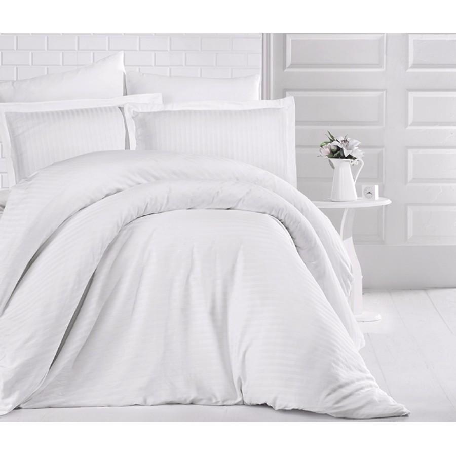Постільна білизна CLASY страйп-сатин 160x220 см Beyaz