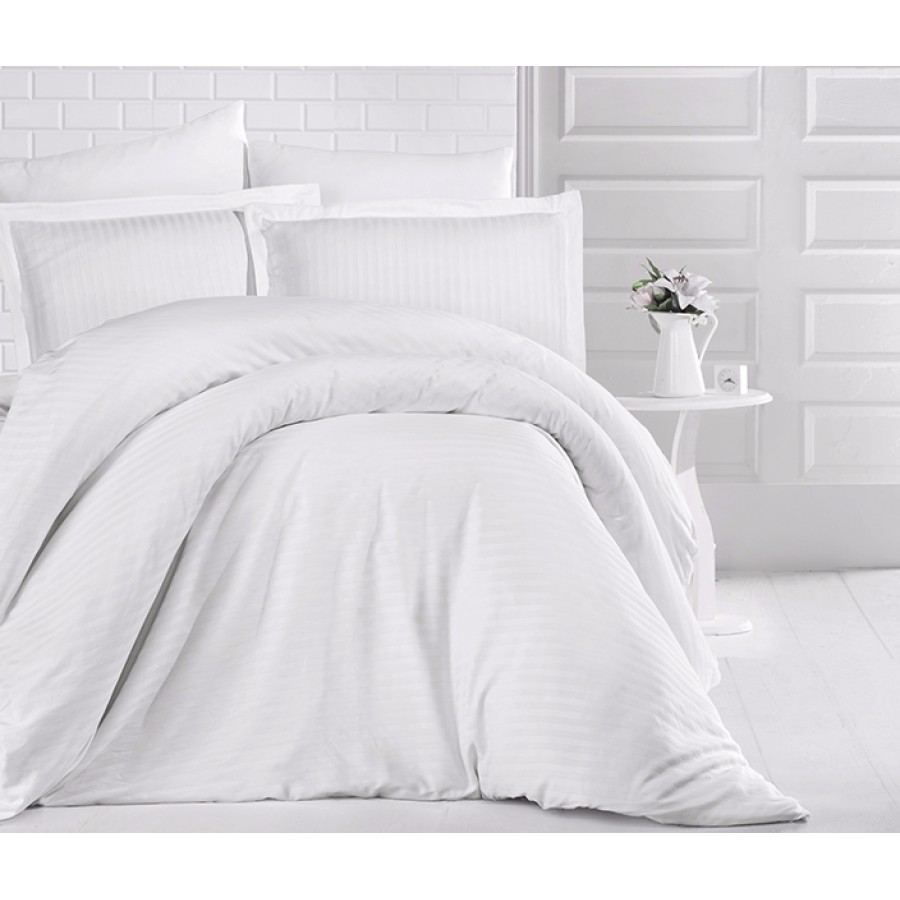 Постільна білизна CLASY PVS страйп-сатин 200x220 см Beyaz